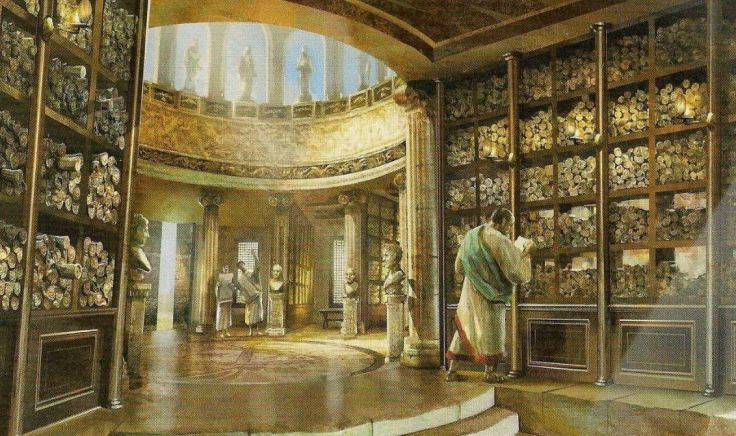 Artist-impression-of-an-ancient-library