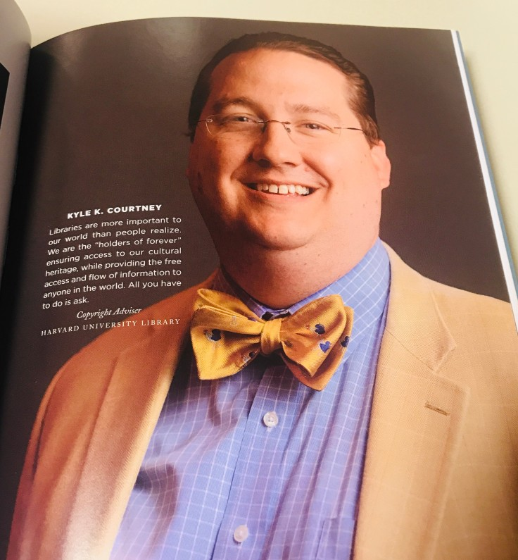 Kyle K. Courtney, Copyright Adviser at Harvard University Library. A man wearing a bowtie.