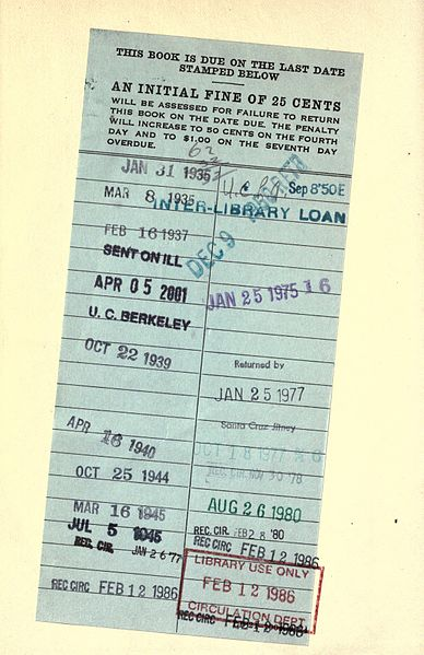 An old library book card with stamped due dates.